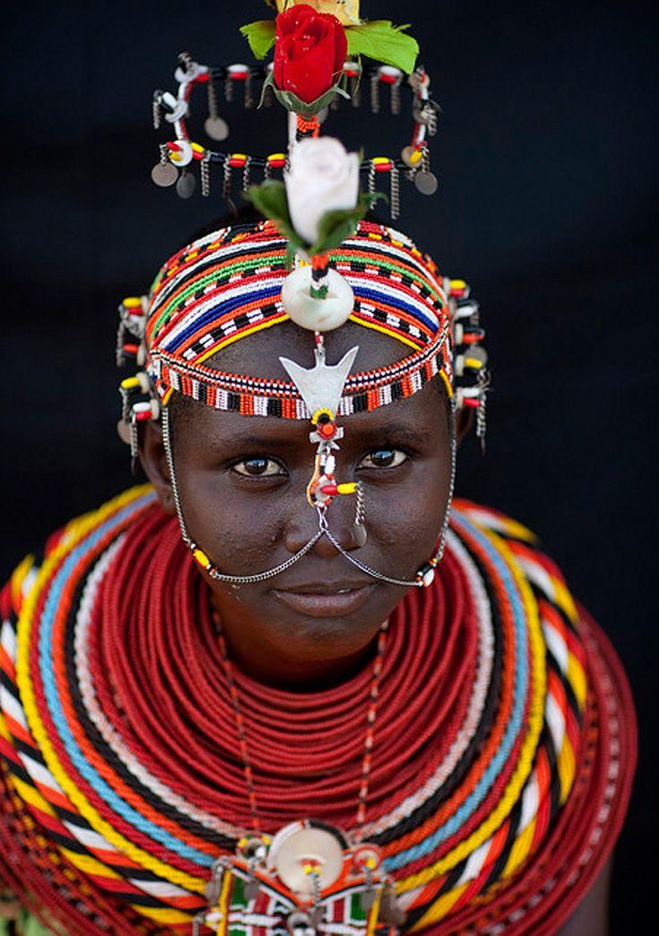 Africa | Rendille girl with decorative chain on her face. Kaisut Desert (between Lake Turkana and the Chalbi Desert), Kenya | ©Eric Lafforgue.
