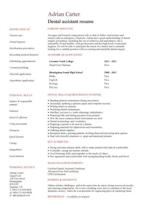 No Work Experience Dental Assistant Resume  Dental School Resume