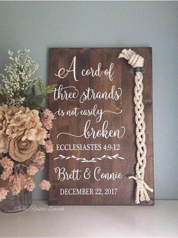 Cord of Three Strands Sign Ecclesiastes 4:9-12 Alternative | Etsy