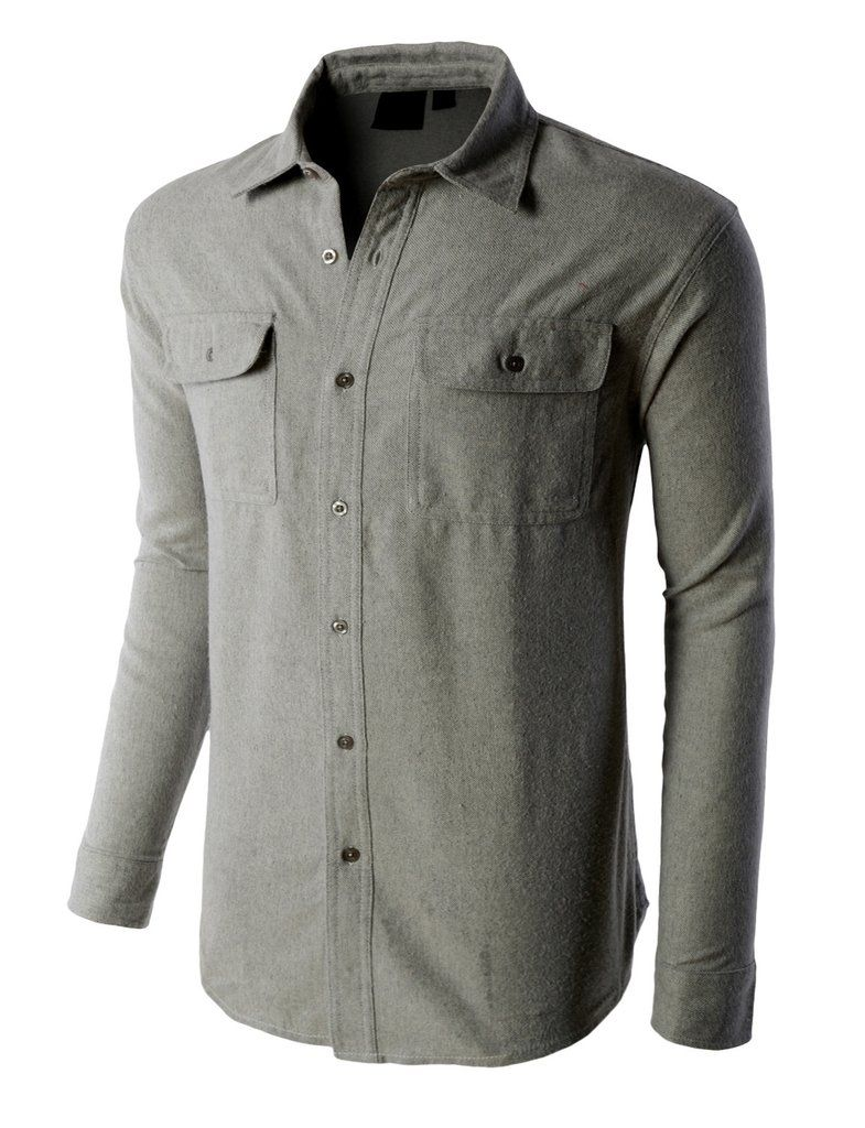 Flannel men's style  PREMIUM Mens Heavyweight Regular Fit Solid Button Down Flannel Shirt