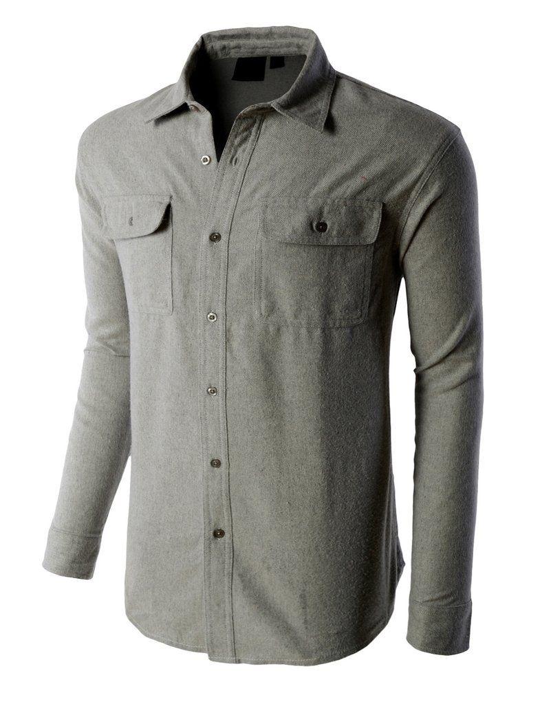 Mandarin collar flannel  PREMIUM Mens Heavyweight Regular Fit Solid Button Down Flannel Shirt