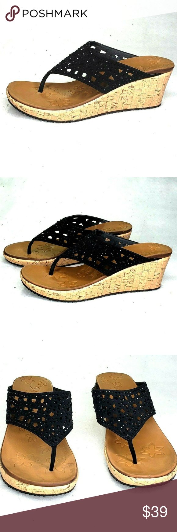 5b7625d8922 Skechers Beverlee Dazzed Wedge Thong Sandals 8.5 Skechers Cali Beverlee  Dazzled Wedge Thong Sandals The only