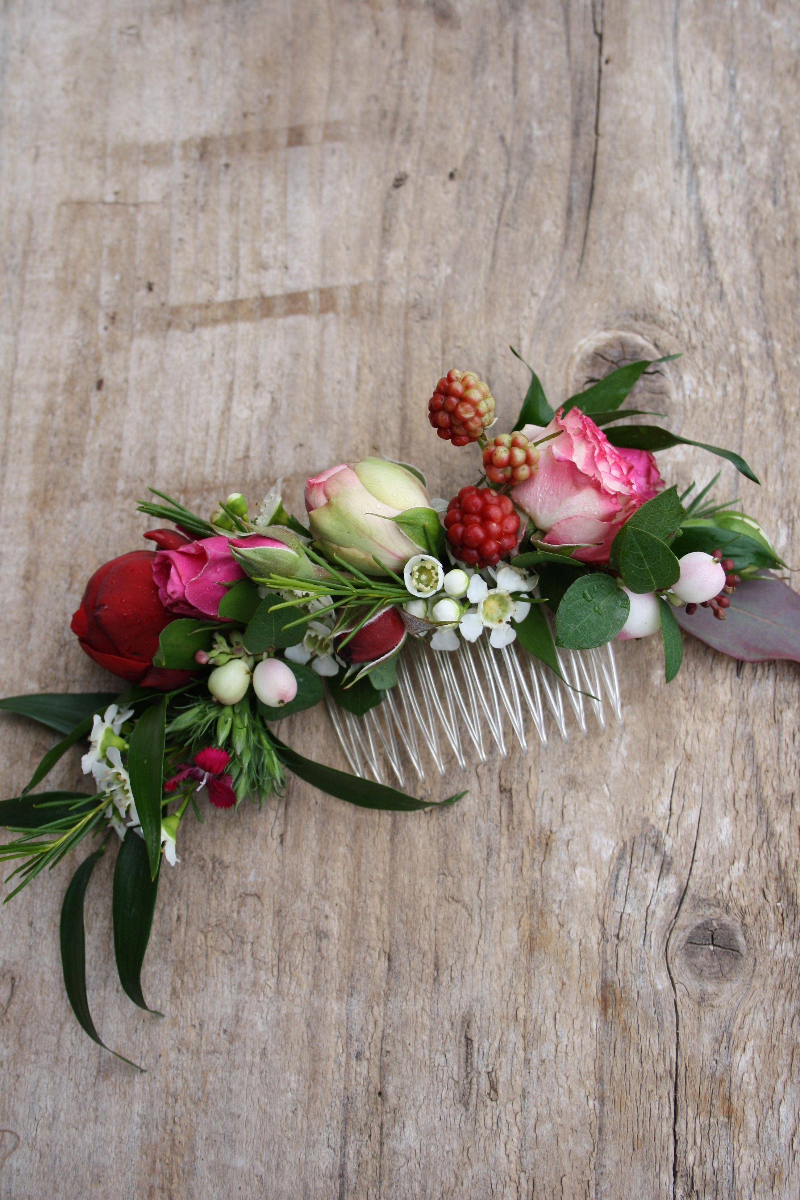 Floraler Kamm   Hair Comb   Blumenschmuck hochzeit ...