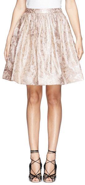Alice + Olivia Pia Lurex Floral Jacquard Pouf Skirt in Pink (Pink,Metallic) - Lyst