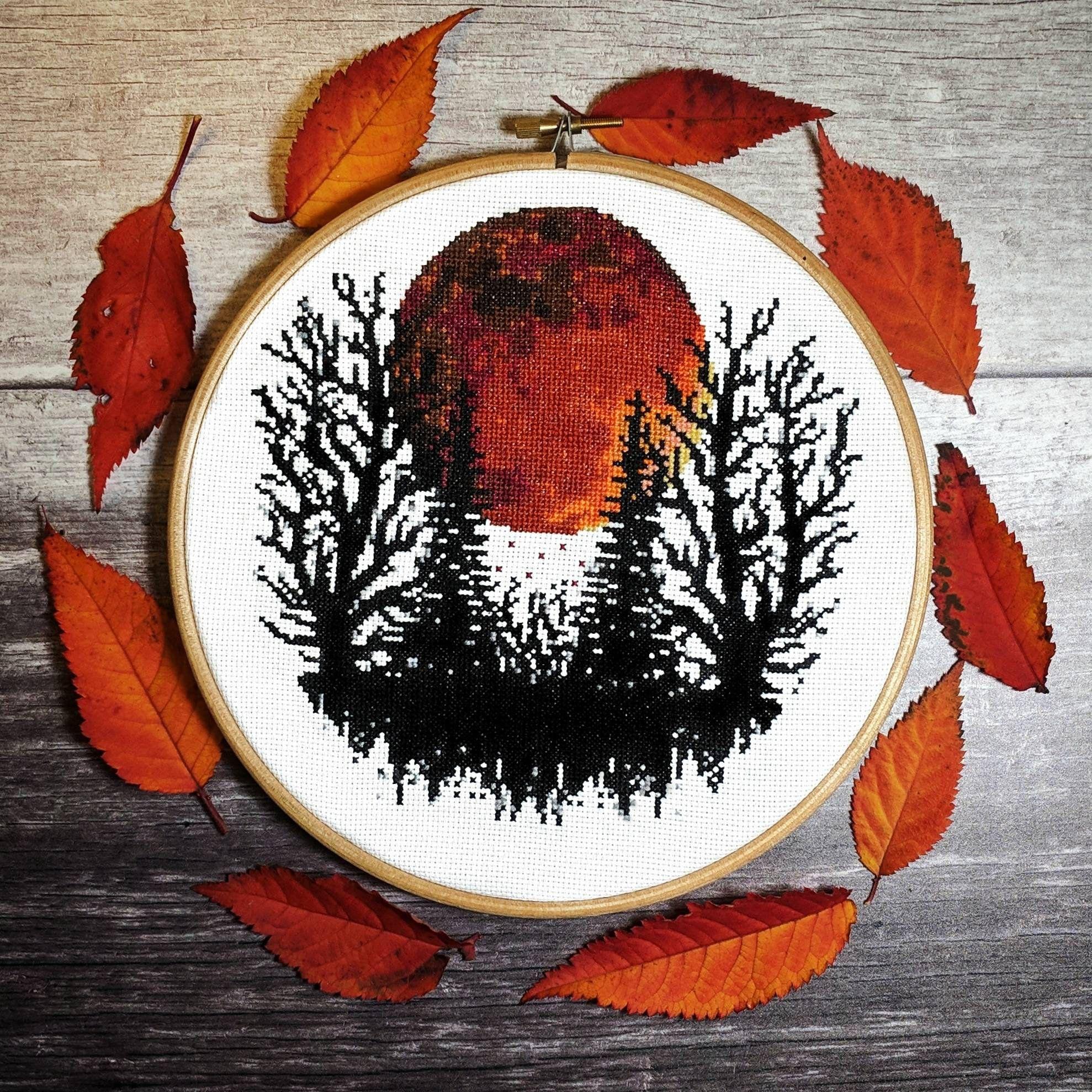Photo of Dark Forest Cross Stitch Pattern – Autumnal Modern Cross Stitch Pattern – Instant Download PDF