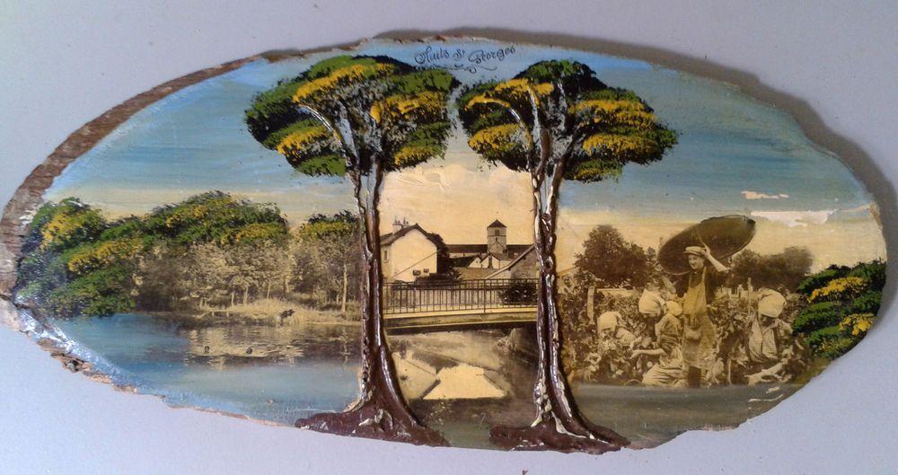 CHromo sur bois rehaussé à la peinture souvenir de Nuits St Georges - peinture bois et fer