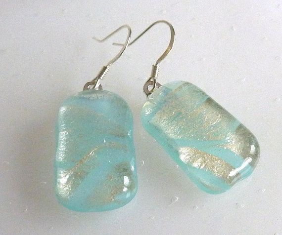 Aqua and Silver Fused Glass Earrings by bprdesigns on Etsy, $15.00
