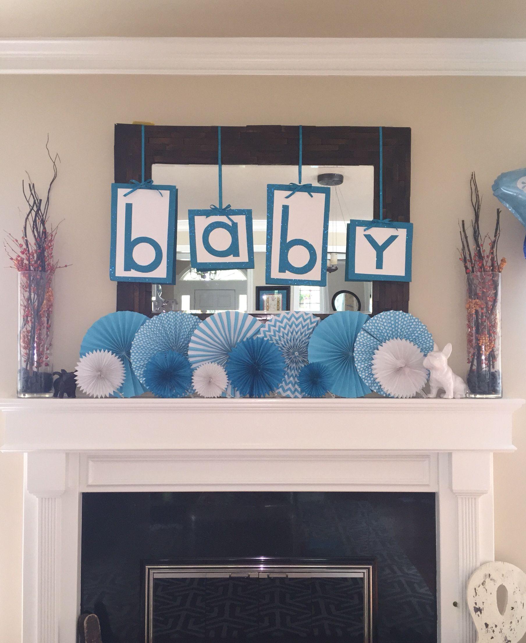 Baby Shower Fireplace Decoration #Babyshower #Babyboy