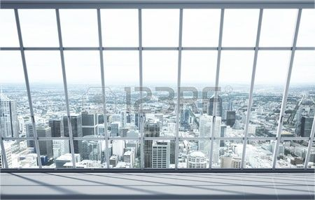 white room with big window in city Stock Photo