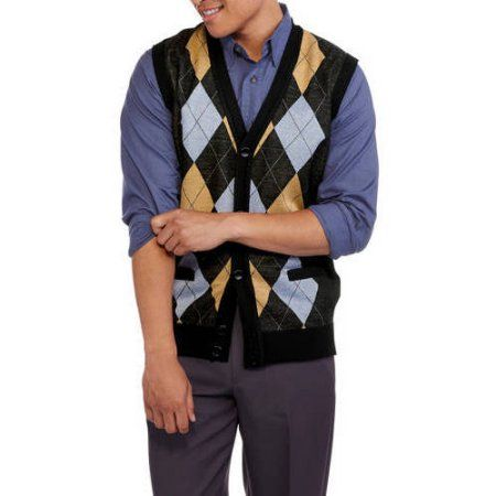 Ten West Big Men's Cardigan Pocket Argyle Sweater Vest, Size: 2XL ...