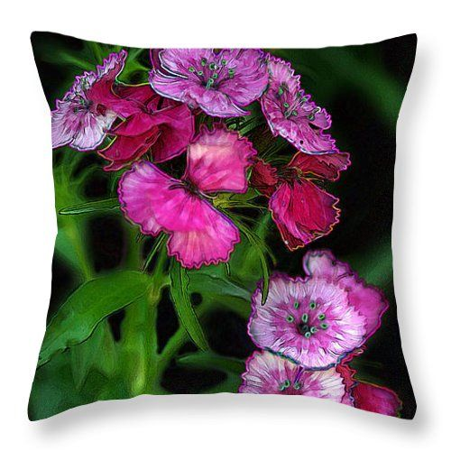 """""""Butterfly Garden 02 - Carnations"""" © E. B. Schmidt. All Rights Reserved. Floral art decor throw pillow. (Available as prints, canvas, metal, and more.) www.ebschmidt.com #art #schmidt #flowers #floralart #carnations"""