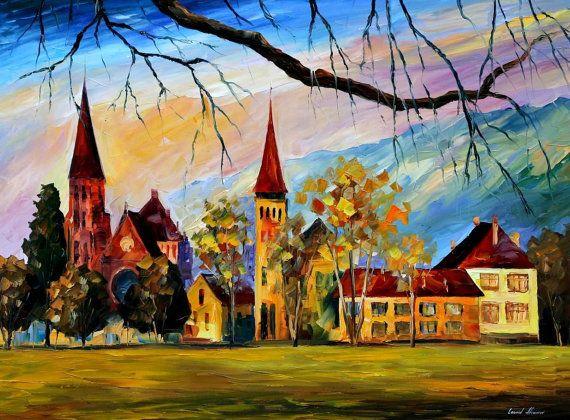 Interlaken, Switzerland — PALETTE KNIFE Oil Painting On Canvas By Leonid Afremov #LeonidAfremov #AfremovArtStudio #pictures #talentedartist