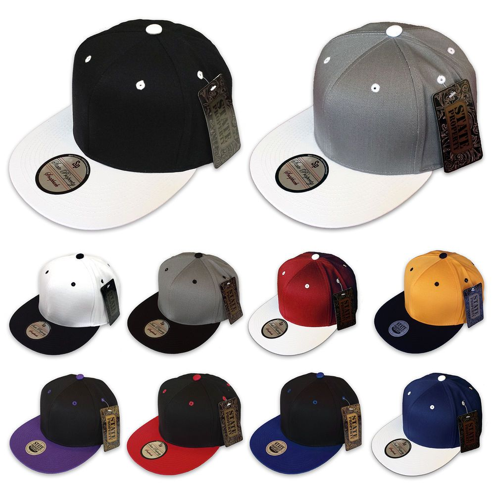 NEW PLAIN SNAPBACK STATE PROPERTY CLASSIC BASEBALL CAP FLAT PEAK FITTED TONE HAT