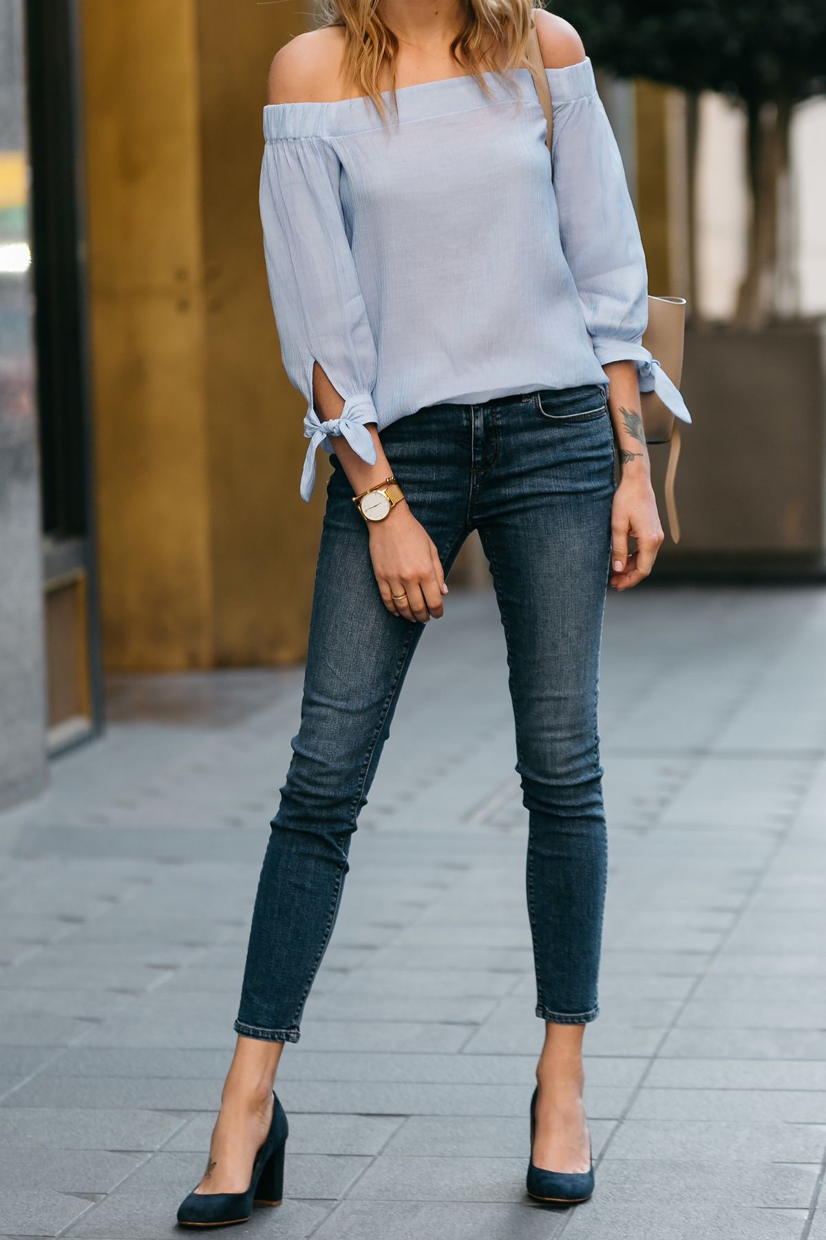 124857b3427ac Fashion Jackson, Dallas Blogger, Fashion Blogger, Street Style, Ann Taylor  Blue Tie Off-the-shoulder Top, Denim Skinny Jeans, Navy Suede Block Heel  Pumps, ...