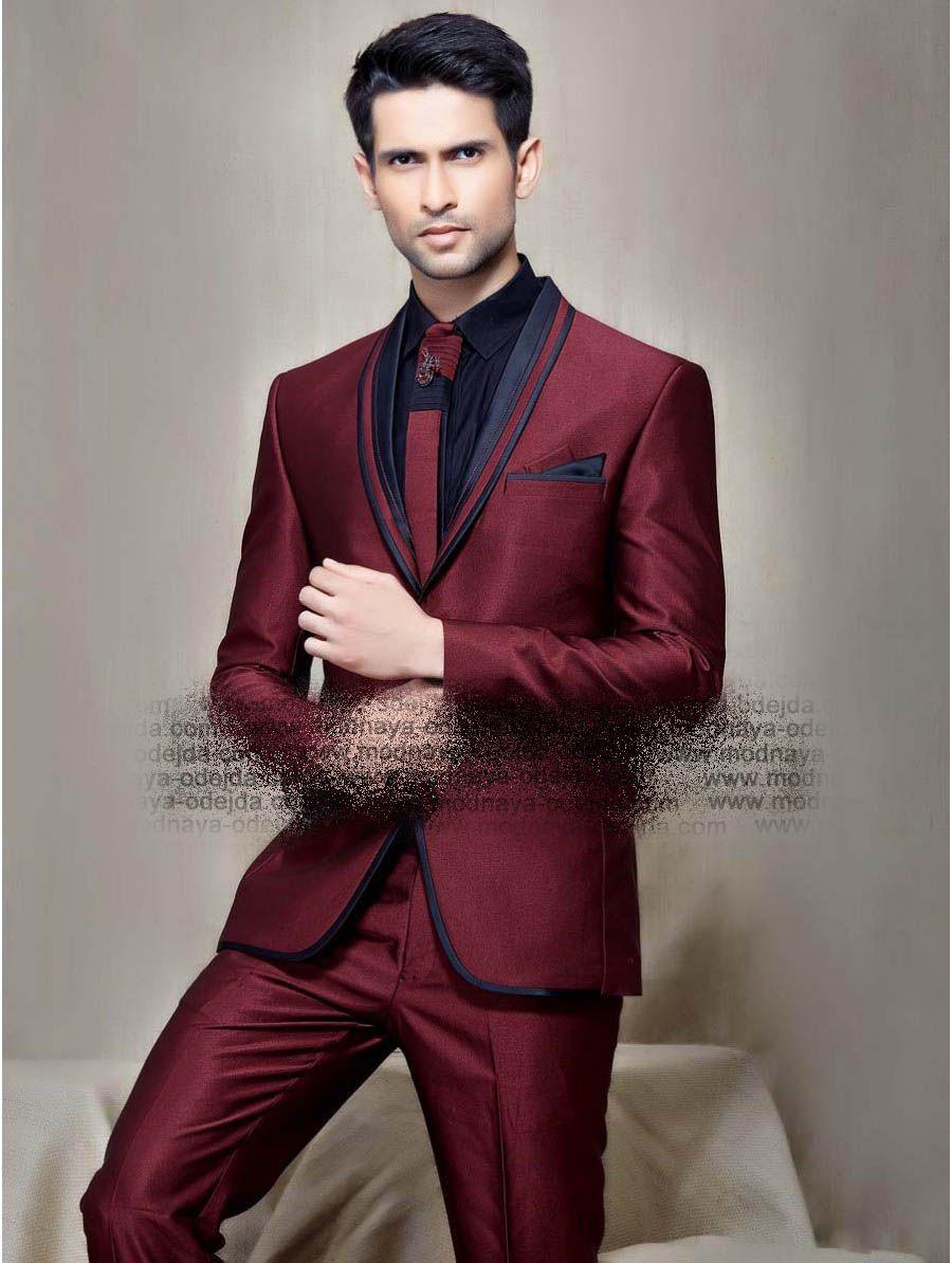 d0f2323ec941b Тёмно-красный мужской костюм-двойка + чёрная рубашка с галстуком ...
