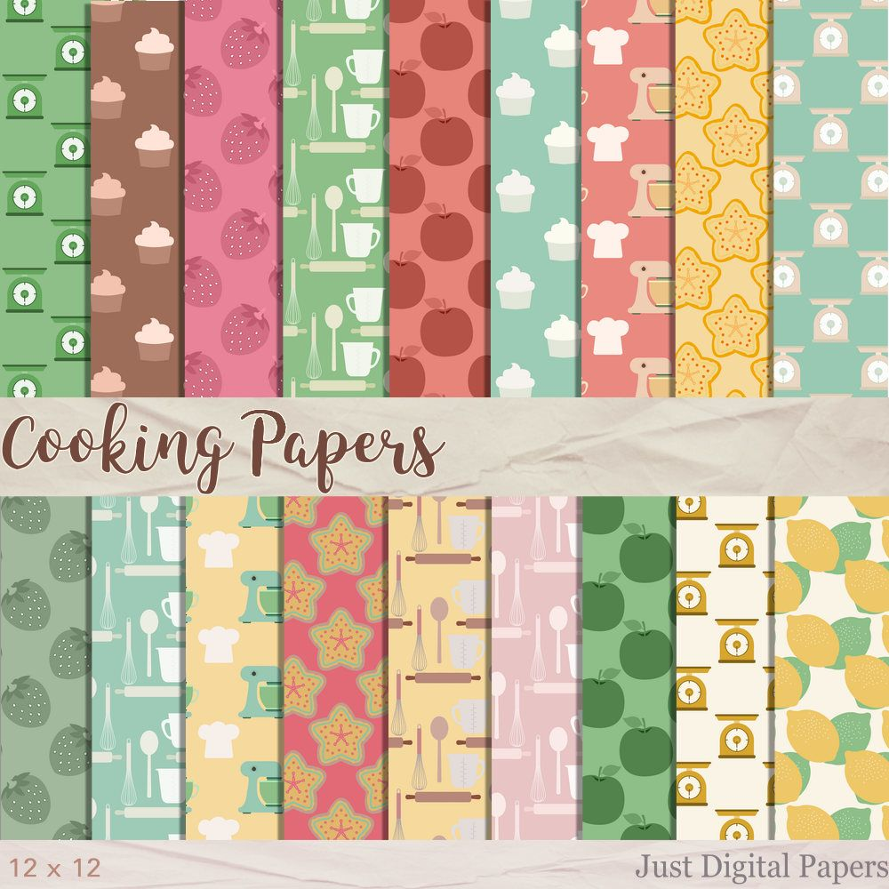 Scrapbook paper cooking - Cooking Papers Baking Papers Food Papers Fruit Paper Digital Paper Scrapbook Paper Instant Download Kitchen Papers