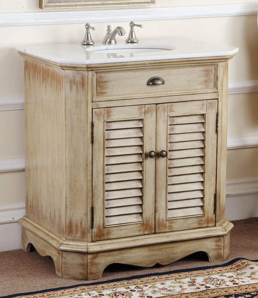 adelina 32 inch cottage bathroom vanity, white marble counter top