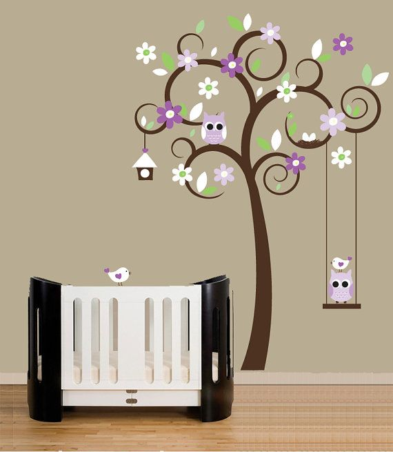 Childrens wall decal swirl tree wall stickers purple accent colors owl swing decal inredning