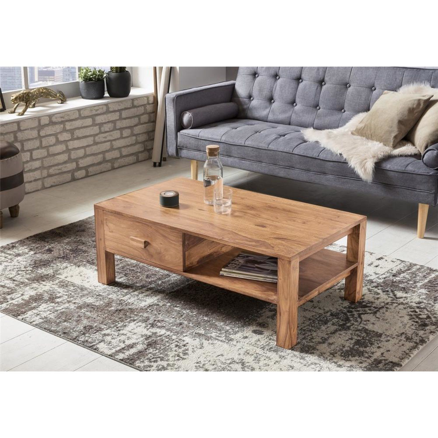Selva Couchtisch Nussbaum Antik Wohnzimmertisch Mit Schublade Und Glasplatte Couchtisch Rund Buche Glastisch Wohnz Pallet Coffee Table Coffee Table Table