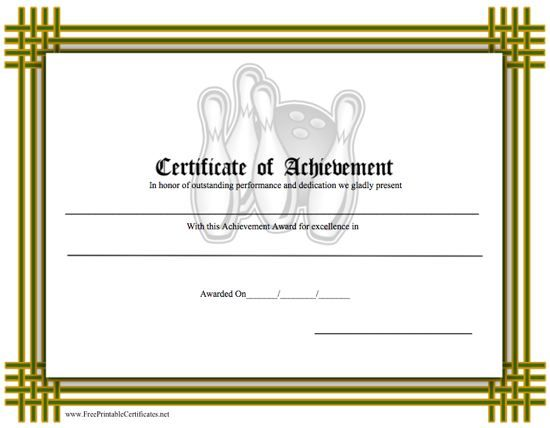 A certificate of achievement for a bowler or tournament with an certificate of achievement bowling printable certificate yelopaper Images