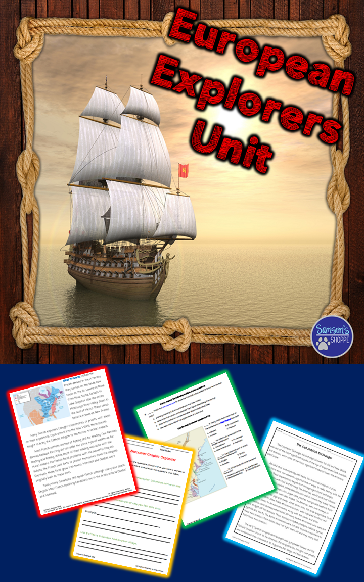 This resource is for a unit on European exploration to use with your social studies students. Students will learn about the colonies the European nations started in the United States such as New France, New Spain, New England and New Amsterdam. Students will read about famous explorations such as John Cabot, Sir Francis Drake, Giovanni de Verrazano, Jacques Cartier, Samuel Champlain, Robert La Salle, Ferdinand Magellan, and Henry Hudson.