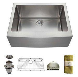 Zuhne 24 Inch Farmhouse Apron Deep Single Bowl 16 Gauge Stainless Steel Luxury Kitchen Sink 24 W X Sink Stainless Steel Kitchen Sink Kitchen Sinks For Sale