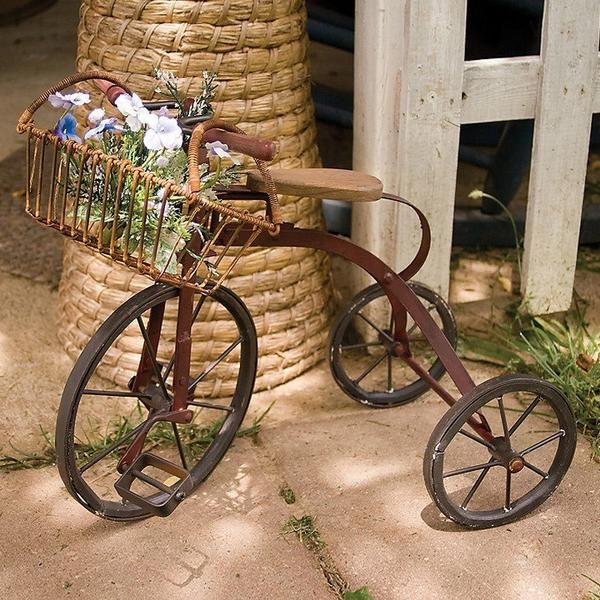 Vintage Miniature Tricycle Garden Planter Mini Replica Of An Old Metal Complete With Wire Basket Display Potted Plants Or Other