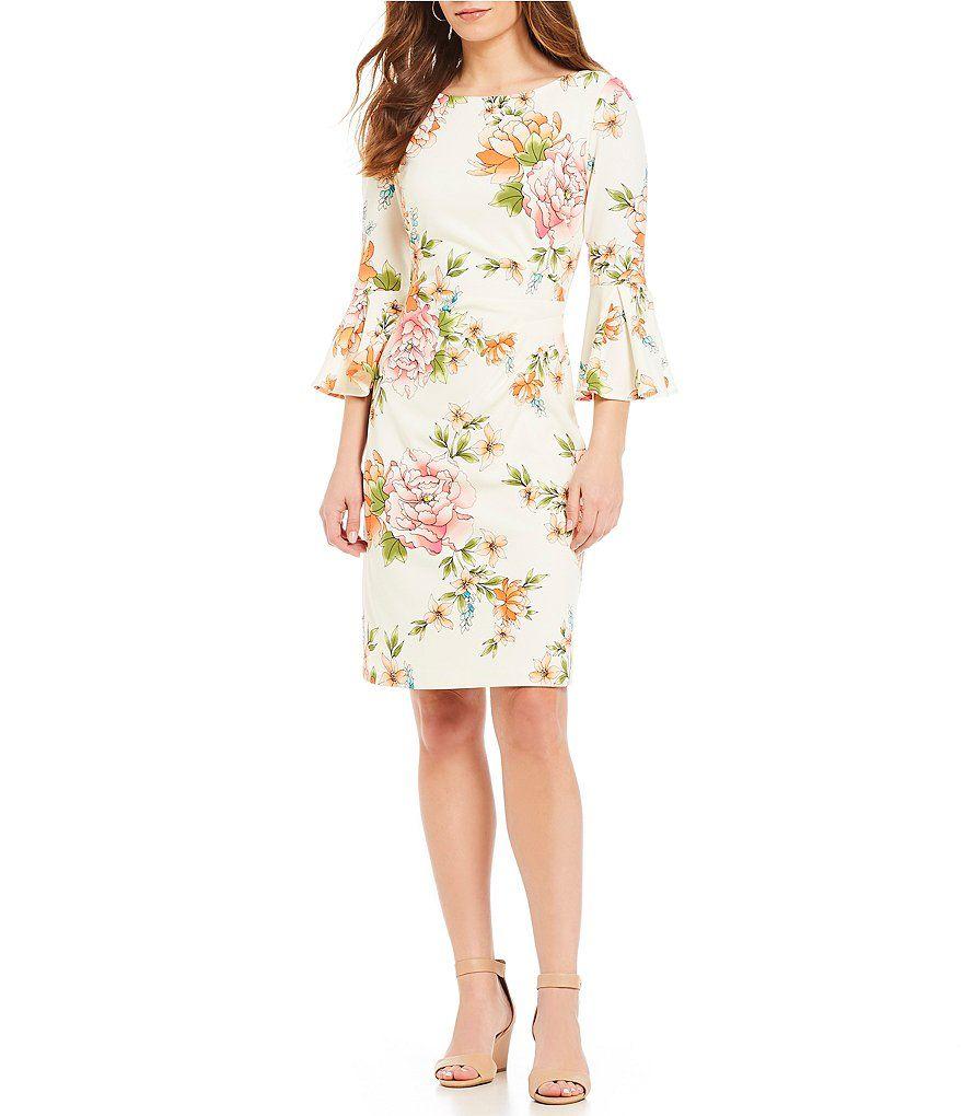 db8ae8e7 Jessica Howard Floral Print Bell Sleeve Sheath Dress | All Things ...
