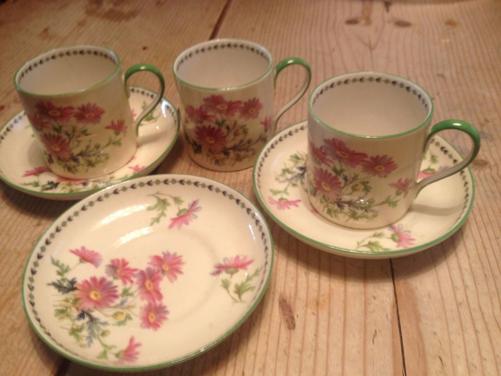 VINTAGE AYNSLEY 3 x coffee cans and saucers British porcelain china | eBay