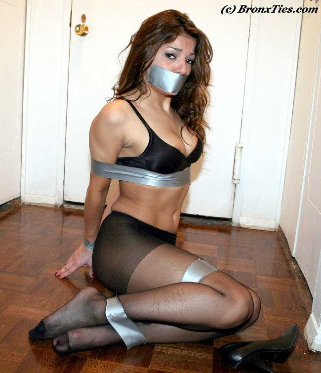 Lydia Totally Tape Tied And Tape Gagged Wearing Pantyhose