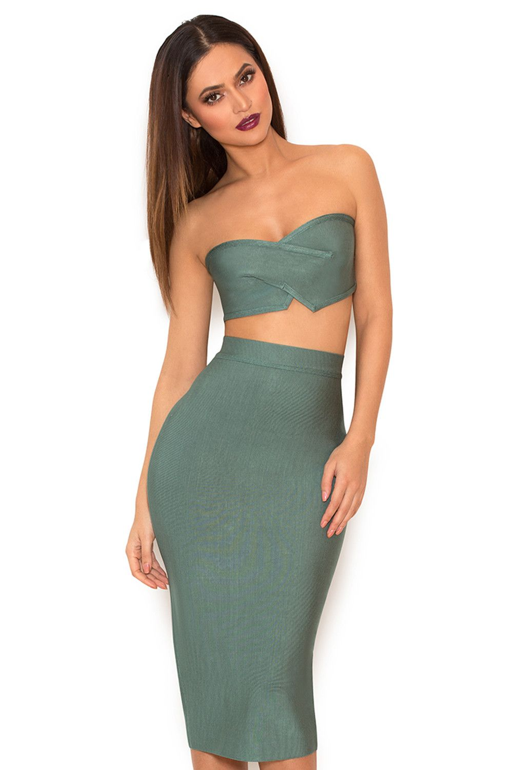 ed0e117ae5d7 Clothing : 2 Pieces : 'Suiza' Teal Bandage Two Piece Bustier Set ...