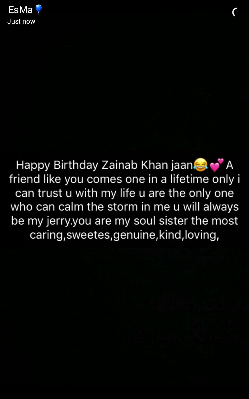 Happy Birthday Zainab Tanveer With Images Snapchat