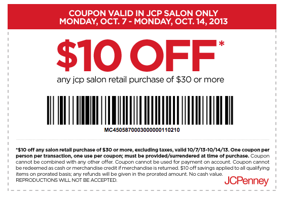 Jcpenney Salon 10 Off 30 Printable Coupon Jcpenney Salon Printable Coupons Coupons
