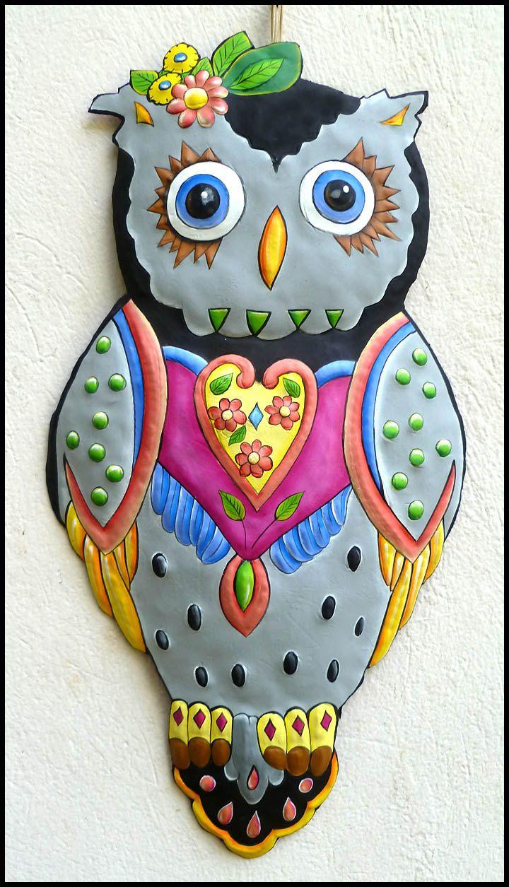 Painted metal art grey owl metal wall hanging garden decor