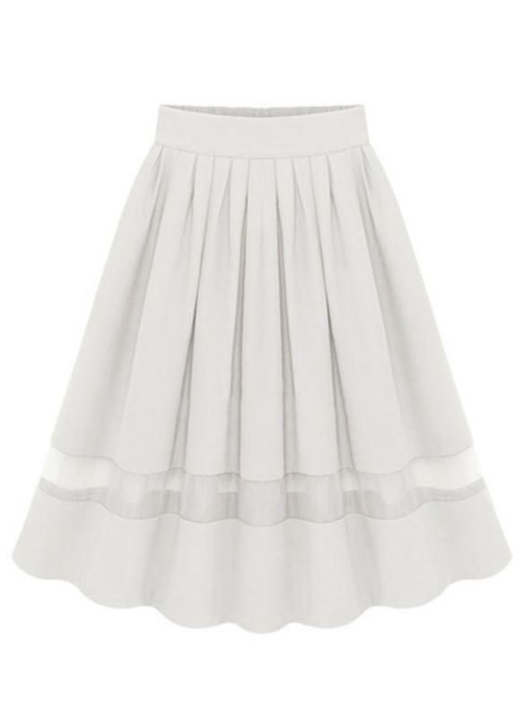 Chiffon Plain Knee Length A Line Skirts 1005229587 High Waisted Circle Skirt High Waisted Flared Skirts High Waisted Pleated Skirt