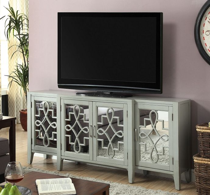 kacia collection antique gray finish wood and mirrored front 4 door hall console table measures