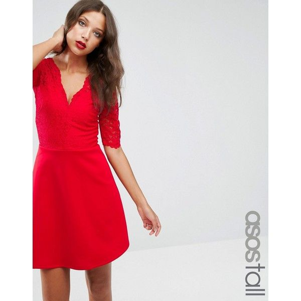 ASOS TALL Scuba Skirt Lace Top Mini Skater Dress (2,510 PHP) ❤ liked on Polyvore featuring dresses, red, lace fit and flare dress, red v neck dress, lace dress, skater dress and short lace dress