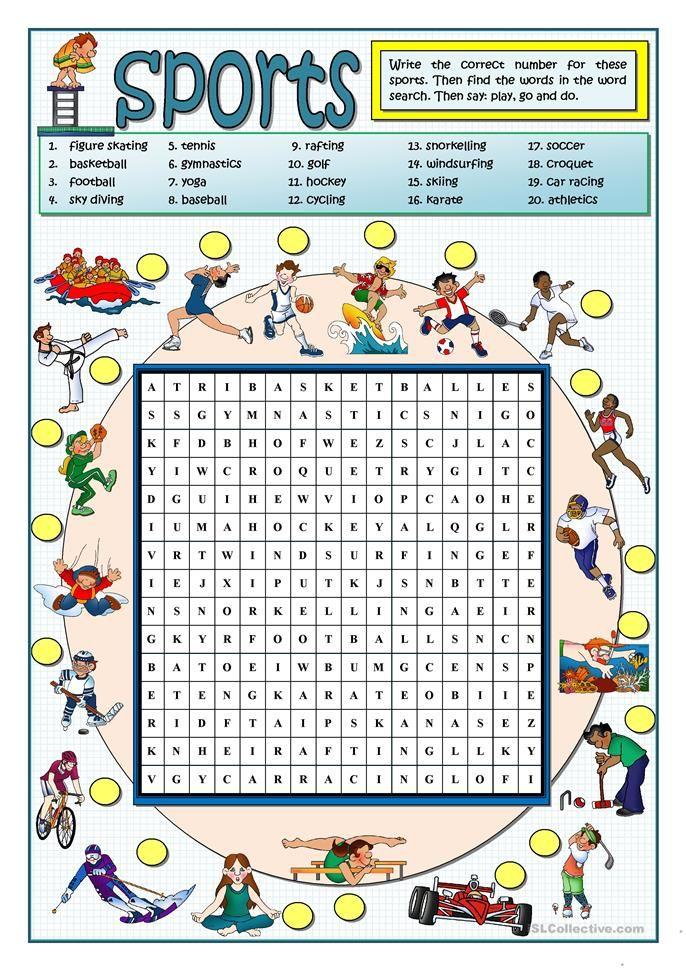 SPORTS WORDSEARCH | home schooling | Pinterest | Englisch ...