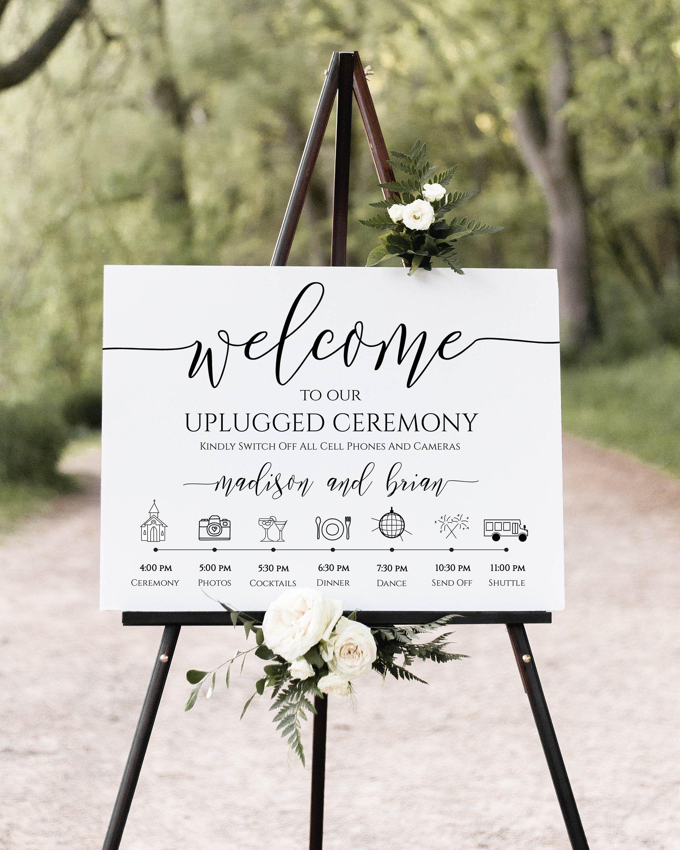 Unplugged Ceremony And Timeline Sign Printable Timeline