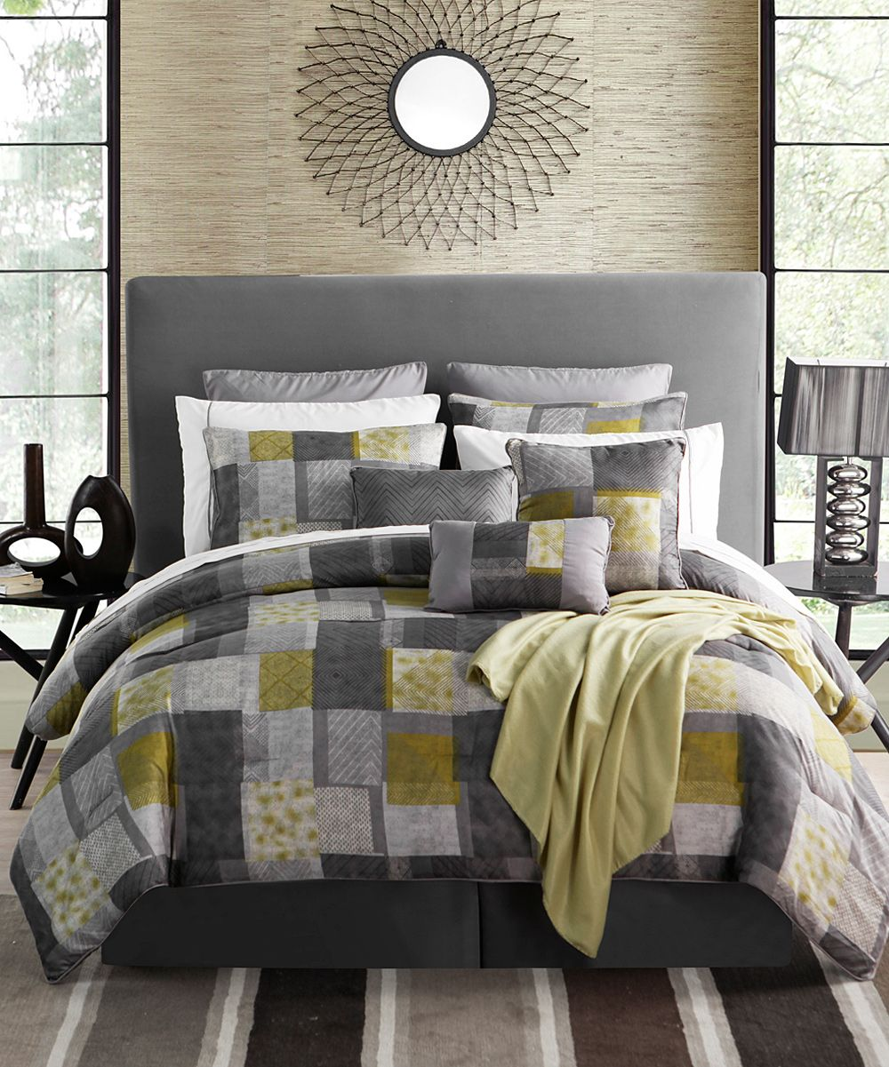 love this grey and yellow comforter set bedrooms. Black Bedroom Furniture Sets. Home Design Ideas