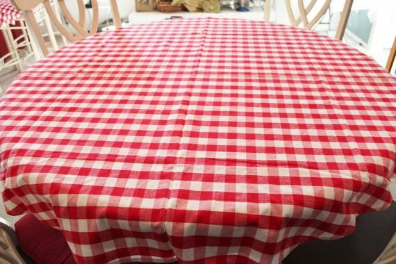 Red & White Check Gingham Tablecloth Round 58 by losttreasures2u