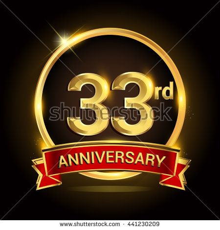 33rd golden anniversary logo 33 years anniversary celebration with