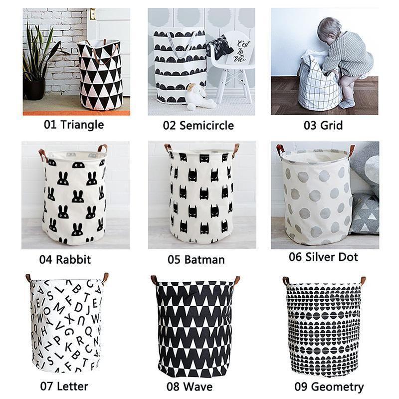 Fashion Baby Kids Toy Canvas Laundry Basket Storage Bag With Leather Handbag