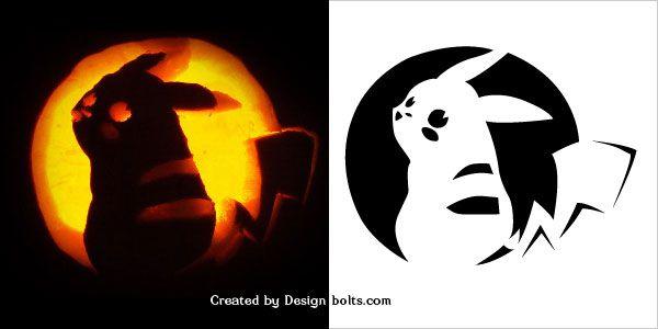 pumpkin template pikachu  7 Free Scary Halloween Pumpkin Carving Patterns, Stencils ...