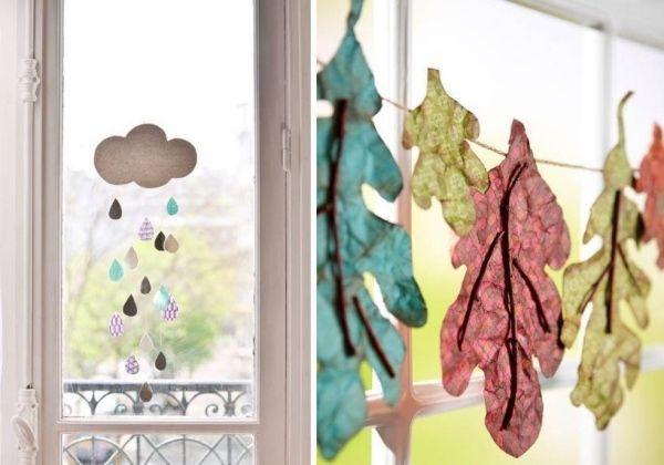 Bastelvorlagen und vorschl ge f r fensterbilder herbst girlande bl tter regenwolke schulkram - Fensterbilder herbst ...