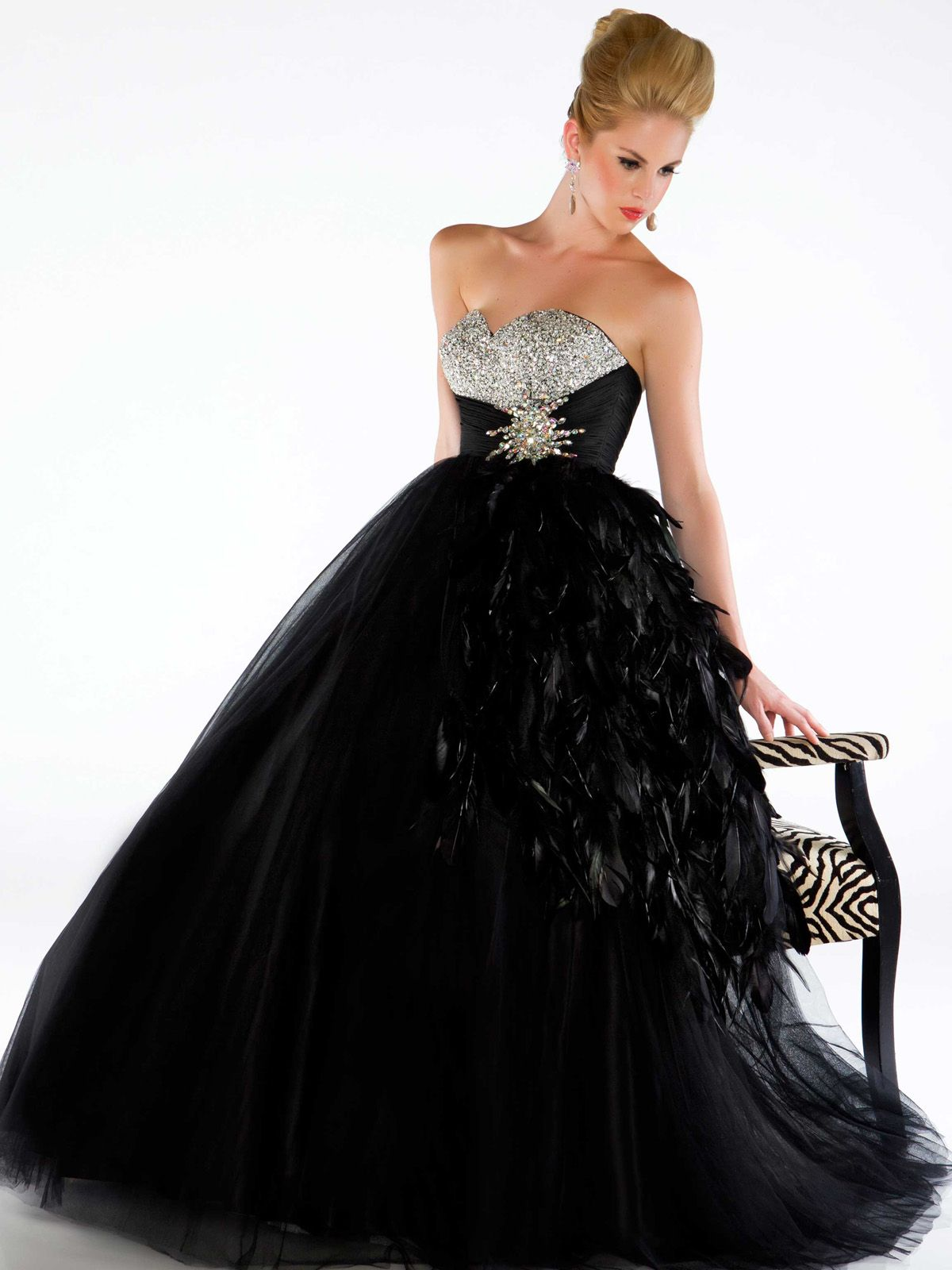 Black mac duggal sweetheart bodice ball gown h wedding