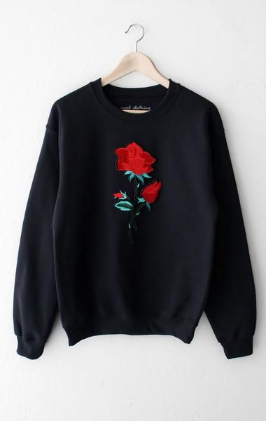 Rose Oversized Sweater - Black Cute Sweaters 8ede2c801