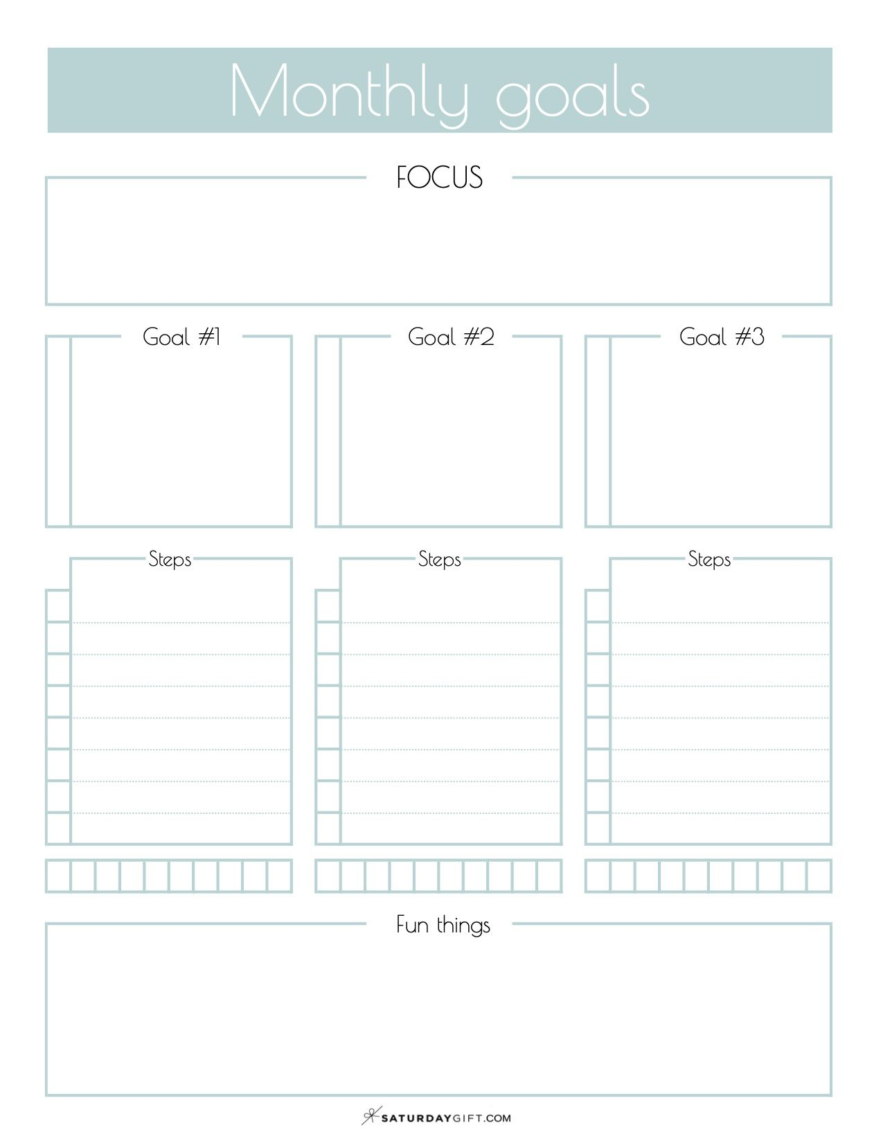 Monthly Goals Worksheet And Calendar Free Printable