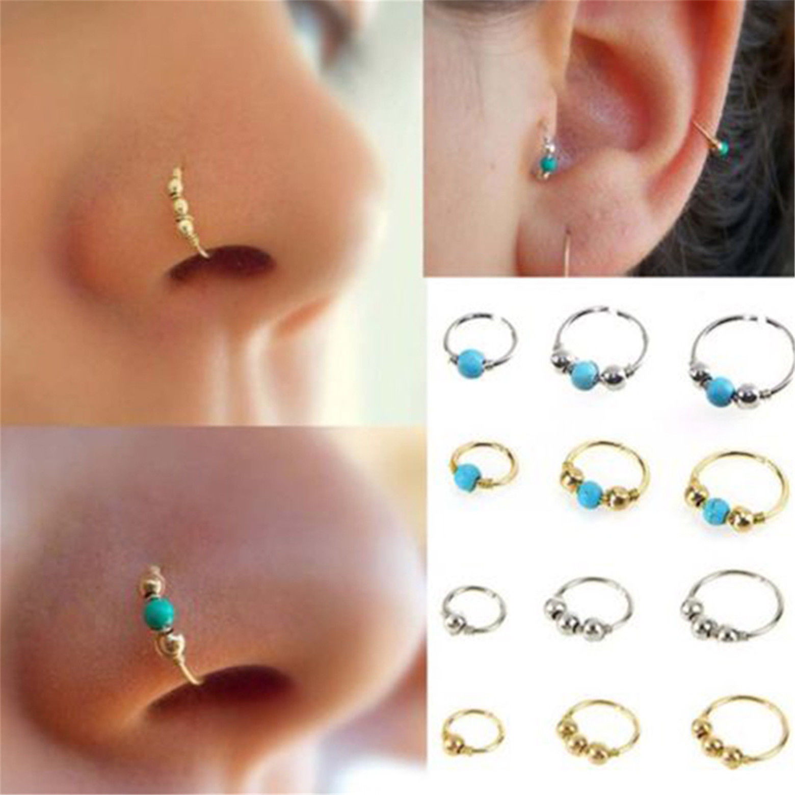 Subiceto 20G Nose Ring for Women 34 PCS Stainless Steel Hoop Stud L Shape Tragus Cartilage Helix Lip Septum Piercing 8-12mm