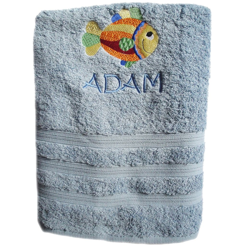 Rainbow Fish Embroidered Towel
